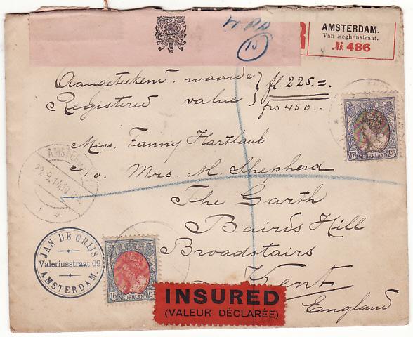 NETHERLANDS-GB…WW1 REGISTERED CENSORED INSURED