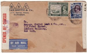 BURMA-USA...  WW2 DOUBLE CENSORED AIRMAIL..