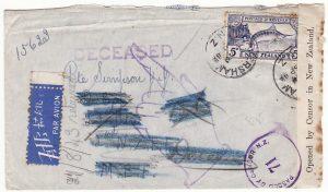 NEW ZEALAND - MEF…WW2 DECEASED & RETURNED TO SENDER..