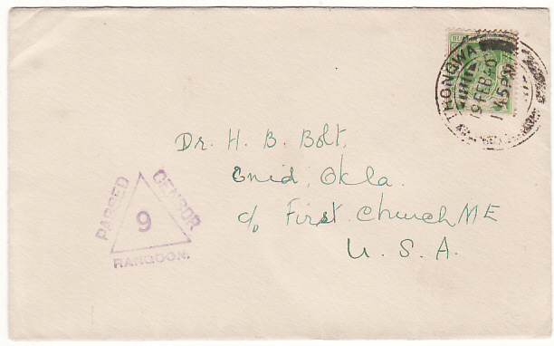 [12782]  BURMA-USA...WW2 CENSORED PRINTED MATTER RATE..  1940(Feb 19)