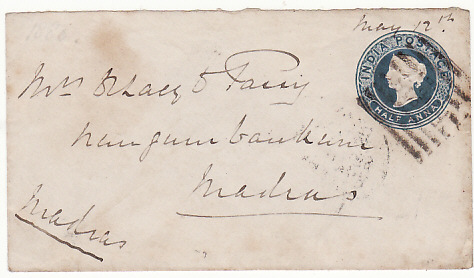 [13792]  INDIA…..2nd AFGHAN WAR STATIONARY with FPO CANCEL……  1879 (May 12)