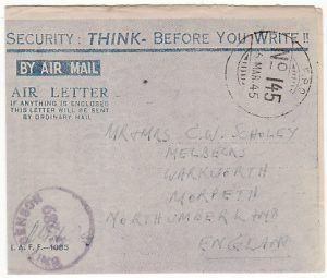 BURMA-GB ..WW2 ALLIED FORCES AIR LETTER…