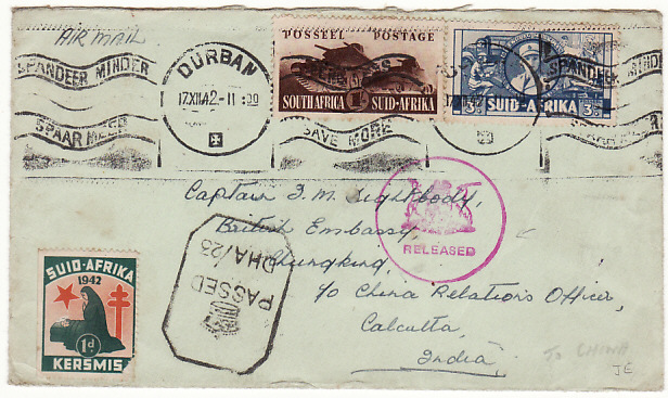 [15236]  SOUTH AFRICA-CHINA… DOUBLE CENSORED with XMAS SEAL & BAGGED to CHINA…  1942(Dec 17)