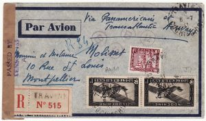 INDO-CHINE-FRANCE…WW2 REGISTERED CENSORED AIRMAIL...