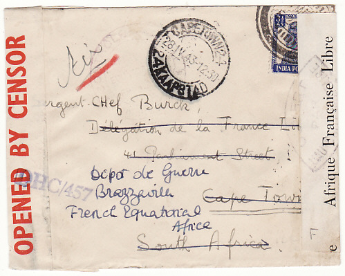 [15388]  INDIA-SOUTH AFRICA..REDIRECTED to FRENCH EQUITORIAL AFRICA & DOUBLE CENSORED...   1943(Mar ??)