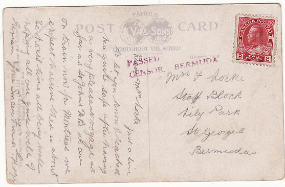 [19274]  CANADA - BERMUDA..WW1 CENSORED in BERMUDA…  1914 (Sep)