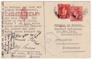 GB - SWITZERLAND …WW2 UPRATED CENSORED STATIONARY…