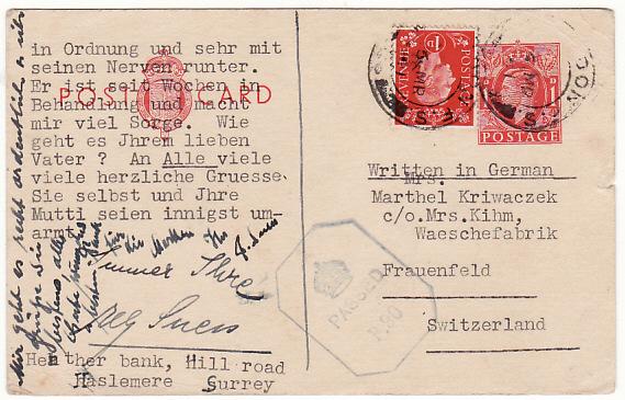 GB - SWITZERLAND …WW2 UPRATED CENSORED STATIONARY…