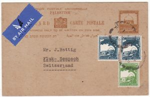 PALESTINE - SWITZERLAND..UPRATED POSTAL STATIONARY by AIRMAIL…
