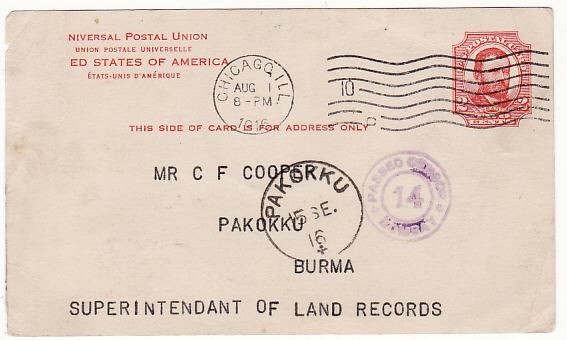 USA - BURMA…WW1 CENSORED STATIONARY…