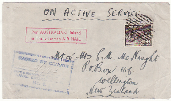 [18739]  CEYLON - NEW ZEALAND…N.Z. FORCES via AUSTRALIA & TRANS TASMAN AIRMAIL..  1943 (Aug 8)