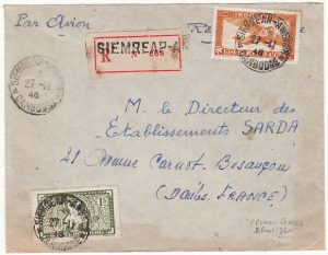 INDO-CHINE-FRANCE...FRENCH FORCES in CAMBODIA REGISTERED AIRMAIL..