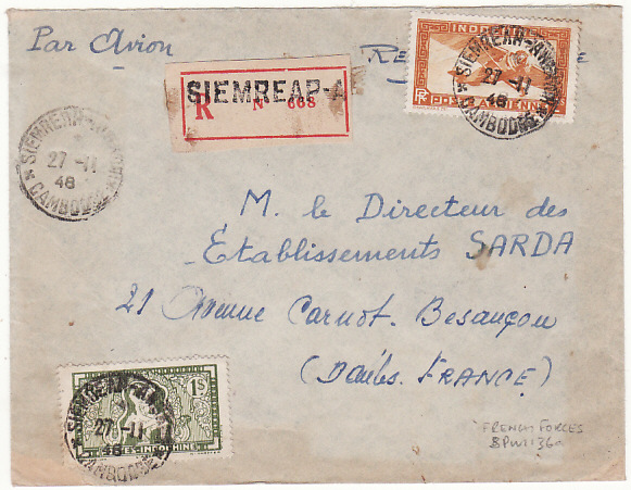 [15700]  INDO-CHINE-FRANCE...FRENCH FORCES in CAMBODIA REGISTERED AIRMAIL..  1948(Nov 27)