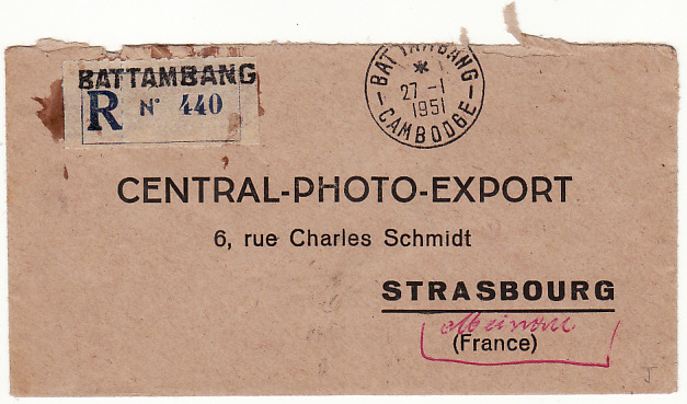 [15749]  INDO-CHINE-FRANCE...CAMBODIA 1951 REGISTERED AIRMAIL from BATTAMBANG...  1951(Jan 27)