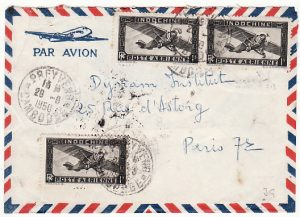 INDO-CHINE-FRANCE...CAMBODIA 1950 AIRMAIL from PREYVENG.