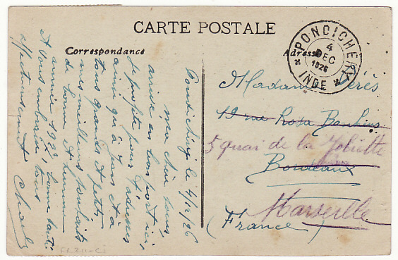 [15810]  INDIA-FRANCE...FRENCH SETTLEMENT PONDICHERY..  1926(Dec 4)