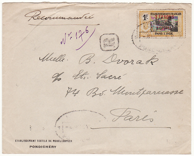 [15812]  INDIA-FRANCE...FRENCH SETTLEMENT PONDICHERY..  1938(Mar 8)