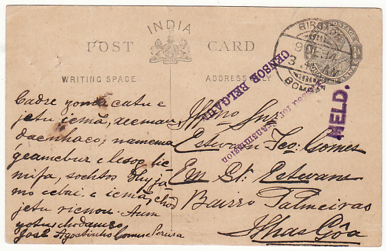 [15821]  INDIA - PORTUGUESE INDIA ….WW1 HELD BY CENSOR…  1914 (Dec 9)