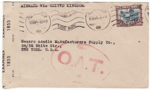 SOUTH AFRICA-USA...AIRMAIL VIA UK & with OAT…