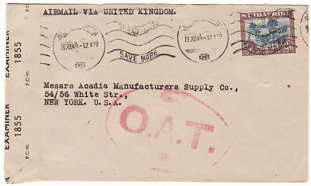[15844]  SOUTH AFRICA-USA...AIRMAIL VIA UK & with OAT…  1944(Dec 19)