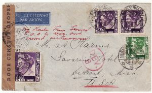 NEI-USA..WW2 DUTCH BORNEO CENSORED TRANS TASMAN & PACIFIC AIRMAIL..