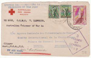 AUSTRALIA-SWITZERLAND…1941 POW MAIL FORWARDED to KOKINIA CAMP GREECE….