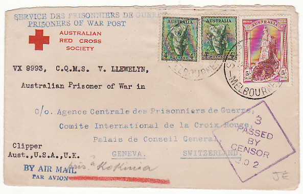 [12194]  AUSTRALIA-SWITZERLAND…1941 POW MAIL FORWARDED to KOKINIA CAMP GREECE….  1941(Dec 30)