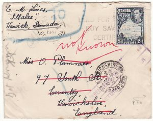 BERMUDA-GB...WW2 RETURNED MAIL with PATRIOTIC LABEL..