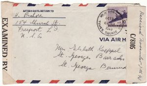 USA-BERMUDA ...WW2 INTERNEE MAIL..