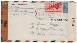 USA-BERMUDA….WW2 INTERNEE MAIL..
