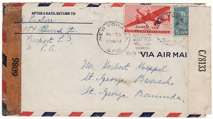 [15639]  USA-BERMUDA….WW2 INTERNEE MAIL..  1943(Nov 29)