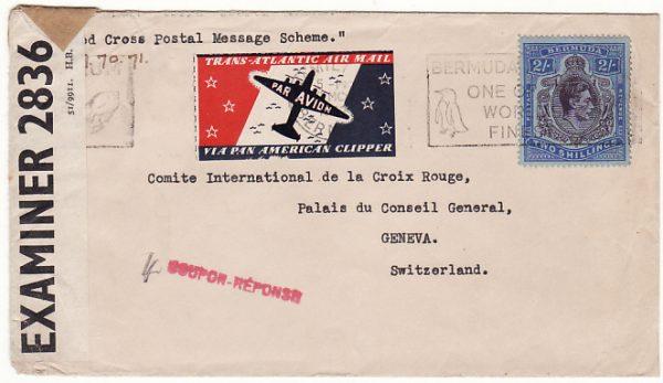 BERMUDA-SWITZERLAND… 1942 RED CROSS POSTAL MESSAGE SCHEME..