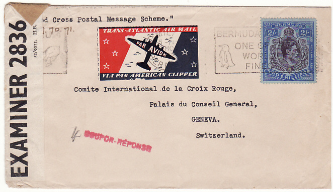 [15640]  BERMUDA-SWITZERLAND… 1942 RED CROSS POSTAL MESSAGE SCHEME..  1942(Mar 29)