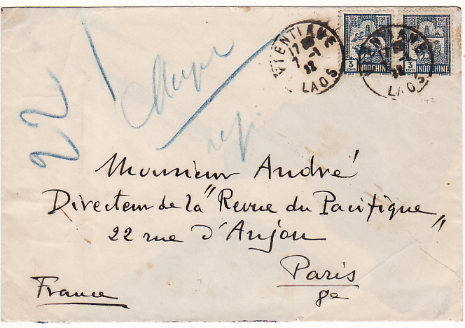 [15761]  INDO-CHINE - FRANCE….LAOS 1932 from VIENTIANE...   1932(Jan 7)