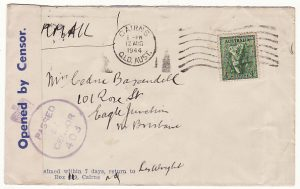 AUSTRALIA…WW2 MILITARY CENSORSHIP of CIVIL MAIL..