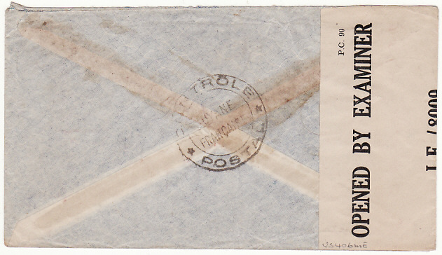 [12042]  FRENCH GUIANA-USA….WW2 CENSORED inTRINIDAD..  1943(May 4)