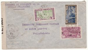 FRENCH GUIANA-USA….WW2 CENSORED inTRINIDAD..