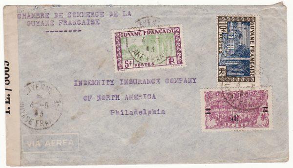 FRENCH GUIANA-USA….WW2 CENSORED inTRINIDAD..
