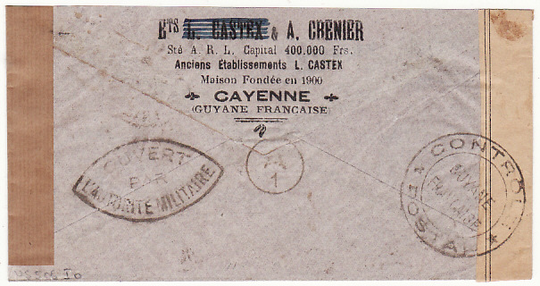 [12122]  FRENCH GUIANA - USA…WW2 AIRMAIL DOUBLE CENSORED FR. GUIANA & TRINIDAD..  1940(Nov 30)