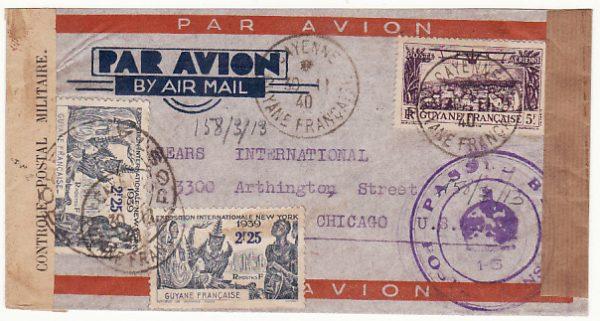 FRENCH GUIANA -  USA…WW2 AIRMAIL DOUBLE CENSORED FR. GUIANA & TRINIDAD..