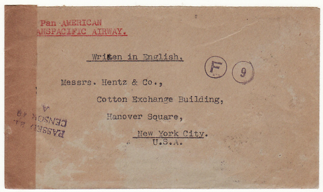 [12939]  IRAQ-USA…WW2 TRANS PACIFIC AIRMAIL CENSORED at SIGAPORE..  1941(Feb 17)