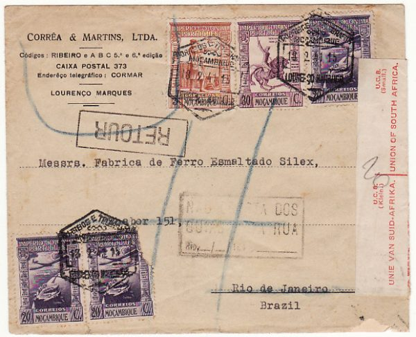 MOZAMBIQUE-BRAZIL …WW2 CENSORED in SOUTH AFRICA & RETURNED..