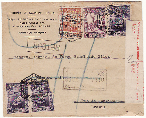 [10177]  MOZAMBIQUE-BRAZIL …WW2 CENSORED in SOUTH AFRICA & RETURNED..  1941(Feb 18)