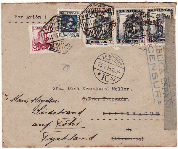[10406]  SPAIN-DENMARK...SPANISH CIVIL WAR AIRMAIL FORWARDED to GERMANY..  1938 (Jul 18)