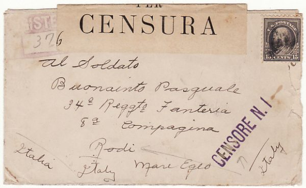 USA-ITALY ...WW1 REGISTERED CENSORED to ITALIAN FORCES on RHODES..