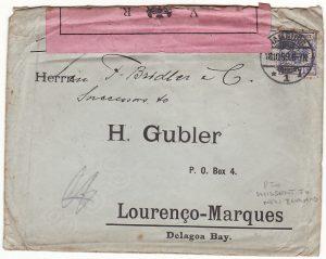 GERMANY - PORT. EAST AFRICA …..1899 BOER WAR MISSENT TO NZ..
