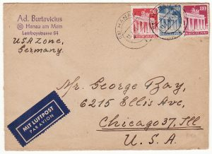 GERMANY-USA...1949 LITHUANIAN D.P. CAMP HANAU with CAMP LABEL..