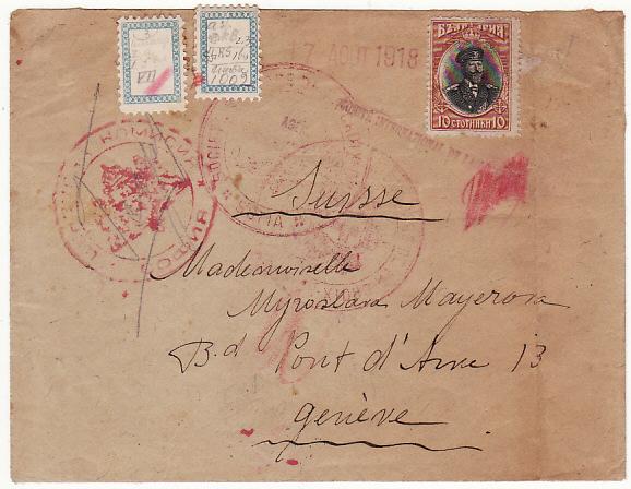 BULGARIA-SWITZERLAND..WW1 RED CROSS for POW ENQUIRY..