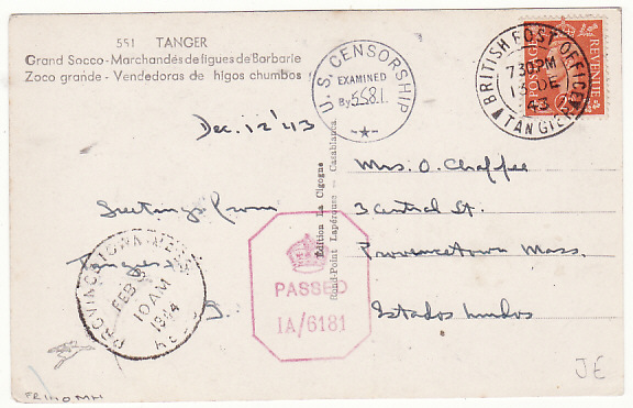 [15356]  MOROCCO-USA….WW2 CENSORED GIBRALTAR & USA..   1943(Dec 12)