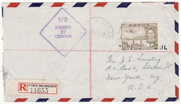 PAPUA & N.G-USA…WW2 REGISTERED CENSORED AIRMAIL..